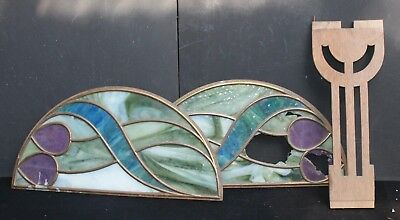 Pair of Arts & Crafts /Art Nouveau Stained Glass Half Moon Panels