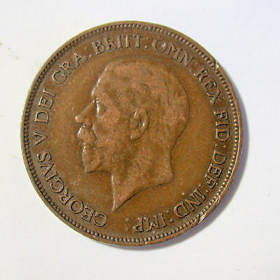 1930 Bronze One Penny Pence Great Britain UK Large Cent