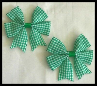 School Green Gingham Check Bow Bobbles Hairband Ponytail Ribbon Fabric Hair Tie