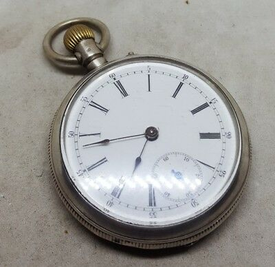 Antique solid silver gents EXTRA pocket watch c1900 working