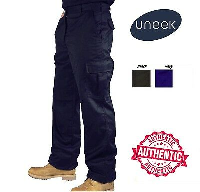 Mens Cargo Combat Work Trousers Size 28 to 52 Black Navy Khaki By UNEEK /902