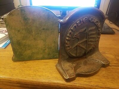 Vintage Purdue University Brass Or Cast Book Ends Heavy 12+ pounds