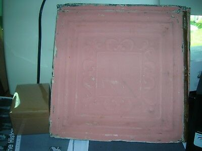 Antique Tin Ceiling Tile 13 Square PINK
