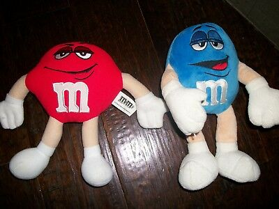 "2 m&m Blue & Red Plush Bendable 10"" & 9  poseable"
