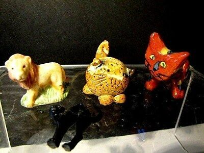 A lot of 4 Cats, 1 Mexican, 1 Handmade, 1 Lion, 1 Black Plastic, All Minis