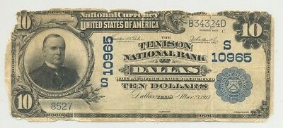 $10 Series 1902 Tenison National Bank of Dallas, Texas Scarce Dallas National!