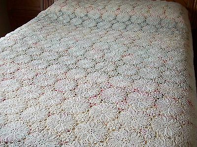 Antique Crocheted Lace Bed Cover Heirloom Belgium circa 1900 White Tablecloth