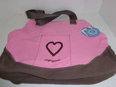 Life is Good Large Soft Canvas Tote Pink & Brown NWT $30