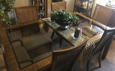 Vintage Drexel dining table with 2 glass inserts~6 cane back chairs and 2 leaves