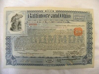 Baltimore and Ohio Stock Certificate, Canceled