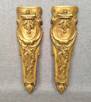 Pair of antique furniture ornaments made of ormolu France 19th century Louis XVI