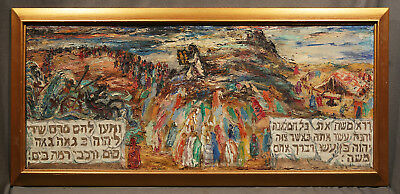 Judaic Modernism Oil Painting from 1940 of Moses and the 10 Commandments