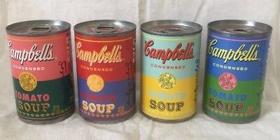 Andy Warhol's Ltd. Edition Campbell's Tomato Soup Set of 4-50th Anniversary Cans