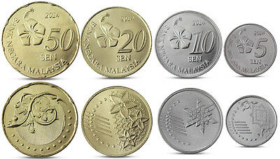 Malaysia Currency Set 4 Coins 5, 10, 20, 50 Sen 2014 Unc