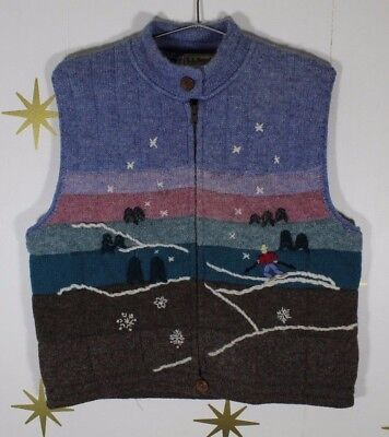 Vintage Women's LL BEAN 100% Wool Snow Ski Cross Country Full Zip Vest Sz Large