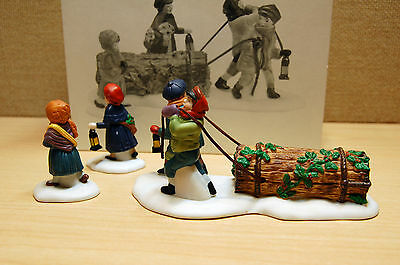 """Personal Collection, DEPT 56, Dickens Vil -""""Bringing Home The Yule Log"""" NearMint"""