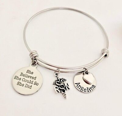 Personalized She Believed She Could So She Did Bangle bracelet Inspiration gift