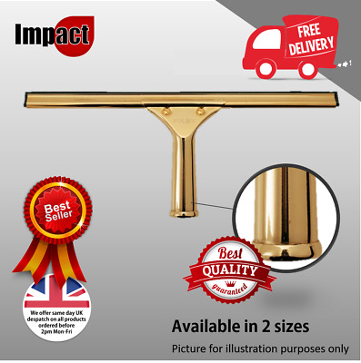 """Brass Window Cleaning Squeegee Complete Handle Channel Rubber 14"""" 18"""" Pulex"""