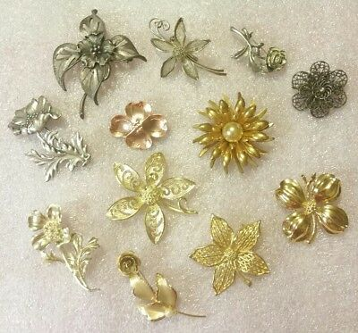 VINTAGE Lot of 12 Mixed Metals FLORAL Brooches Pins DOGWOODS ROSES in EVC!