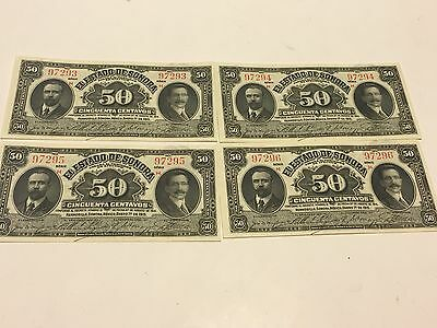 Mexico Notes 50 Centavos ABNC Mexican Banknotes  Lot Of (4) UNC Serie 1915 H