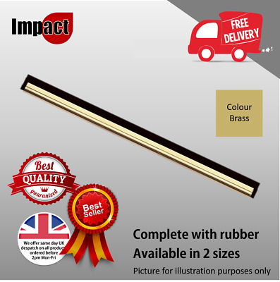 """Brass Window Cleaning Squeegee Channel and Rubber 14"""" 18"""" Pulex - Best Quality"""