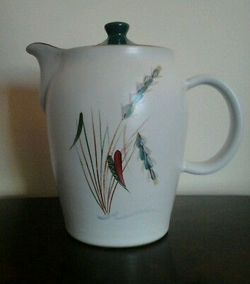 Vintage Denby Greenwheat Coffee Pot Hand Painted Full Makers Marks Signed