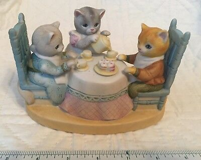 Kitty Cucumber Tea for Two Music Box Cat Tea Party 1985