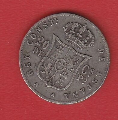 Spain 20 Centimes 1885 Silver