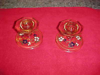 PAIR OF VINTAGE 1930s  Pink Depression Glass Candle Holders Hand Painted