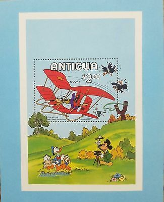 L) 1980 Antigua, Disney, Goofy In Glider, Mickey, Pato Donald, Nature, Souvenir
