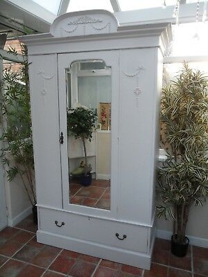 Beautiful Large Vintage Painted Victorian Style Mirrored Wardrobe Shabby Chic