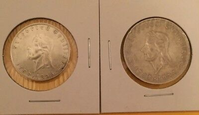 Beautiful Pair Of Schiller 2 And 5 Reichmarks. 1934-A!!!