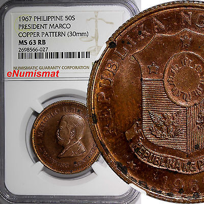 Philippine Copper 1967 50 Sentimos Pattern President Marco NGC MS63 RB KM# Pn37