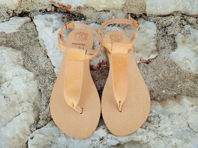 Ancient Greek Leather Sandals / Natural / Gold / Silver /T-bar  Sandals