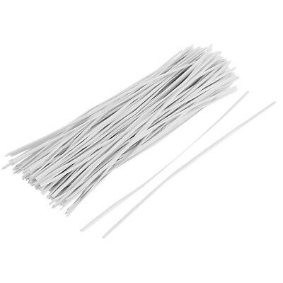 130pcs Cable Organizer Binding Packaging Wire Twist Ties White 150x2.2mm E8N6