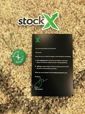 DS New StockX 100% Authentic Verified Shoe Tag + Card + Sticker Stock X