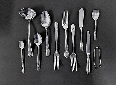 Silver Plate Dinner Ware Flatware Spoons Forks Knives Mixed Lot of 11