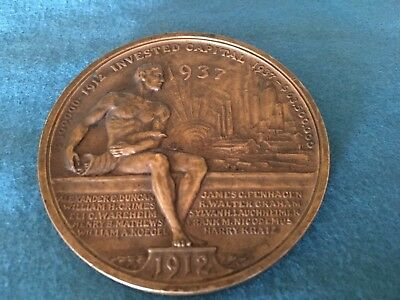 1937 Duncan 25Th Year Anniversary Commercial Credit Co. Bronze Medal Schuler