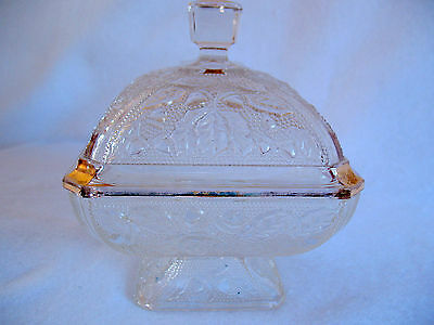 VINTAGE SQUARE FOOTED CANDY DISH With  Acorns, Leaves and Gold Accent Trim