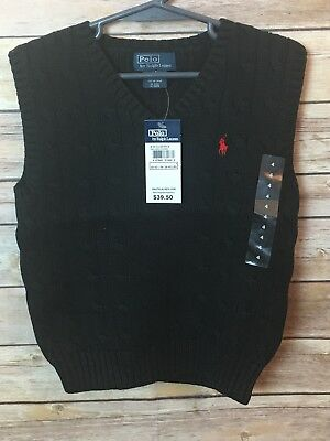 Polo by Ralph Lauren Size 4 Boys Black Sweater Vest red logo causal formal B24