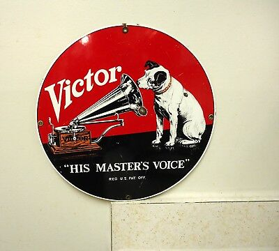 rca victor nipper dog porcelain sign advertising,phonograph,his masters voice