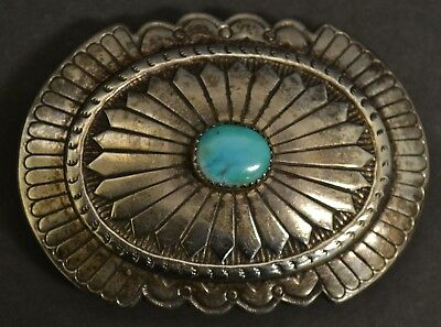 Vintage Native American Old Pawn Sterling Stamped Nel J Turquoise Belt Buckle