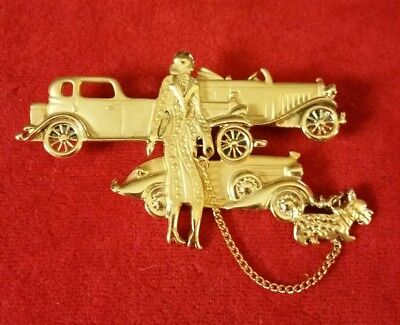 Vintage Retro '20s Art Deco Style Woman Walking Dog on Chain Large Brooch Pin