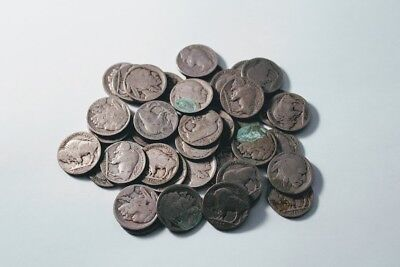 Buffalo Nickels Roll Of 40 NO Date ( Indian Head ) U.S. 5 Cents With Acid Mark