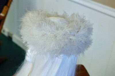French Designer Evelyn Varon Exclusive Vintage Hat Off White Ostrich Feathers
