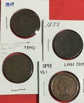 1819 1833 1840 Small 8 Over Large 8 & 1848 US LARGE CENTS SEt of 4! Old Coins!