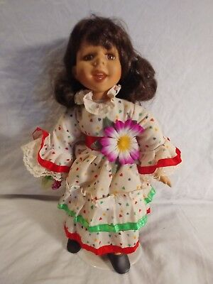 Vintage Porcelain Doll 12  Inches Tall With Stand