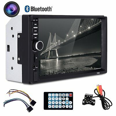 7'' Double 2 DIN Car MP5 MP3 Player Bluetooth Touchscreen Stereo Radio w/ Camera