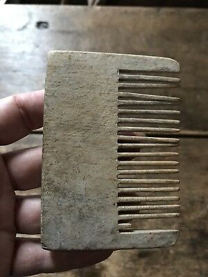 RARE Early Antique Hand Carved Wooden Treen Wig Comb Patina AAFA