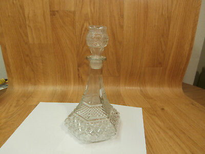 """ANCHOR HOCKING Wexford Pattern Ships Decanter w/ Stopper 12"""" Tall"""